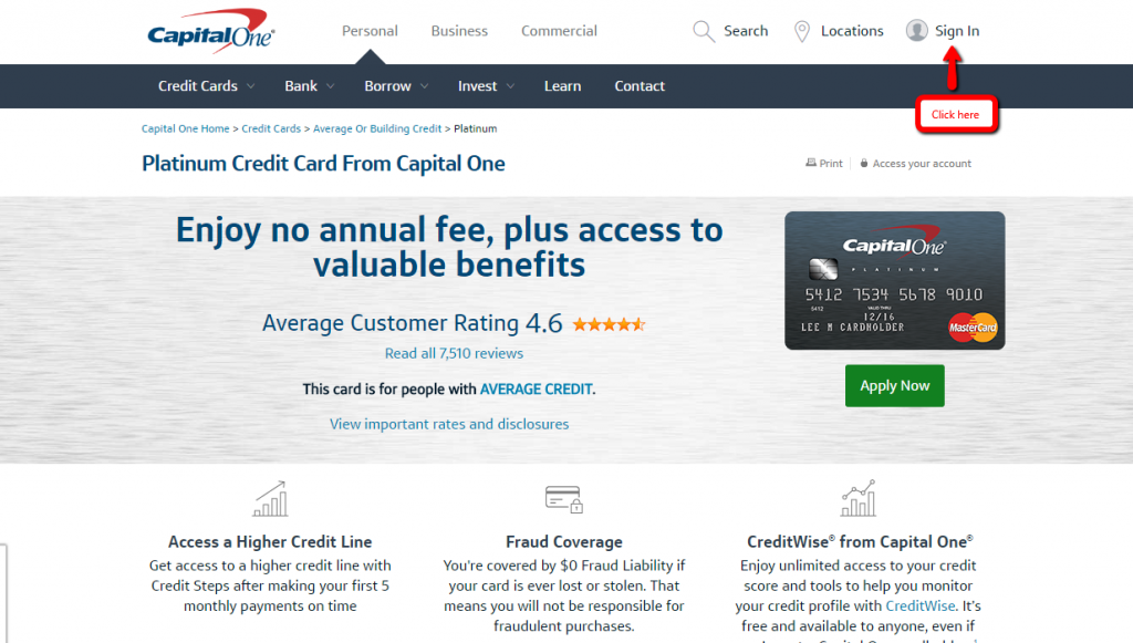 capital one platinum credit card activation
