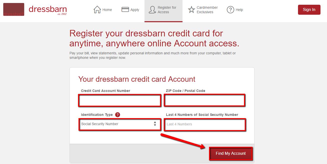 Dressbarn Credit Card Payment Login