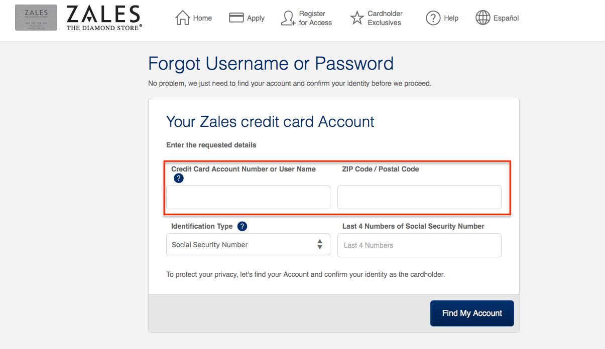 Zales pay online credit card