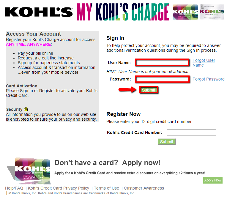 Kohl's Credit Card Login | Make a Payment - CreditSpot