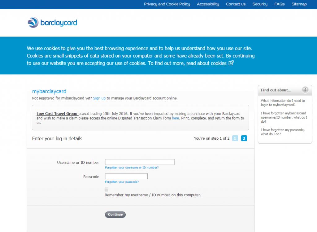 barclaycard log in