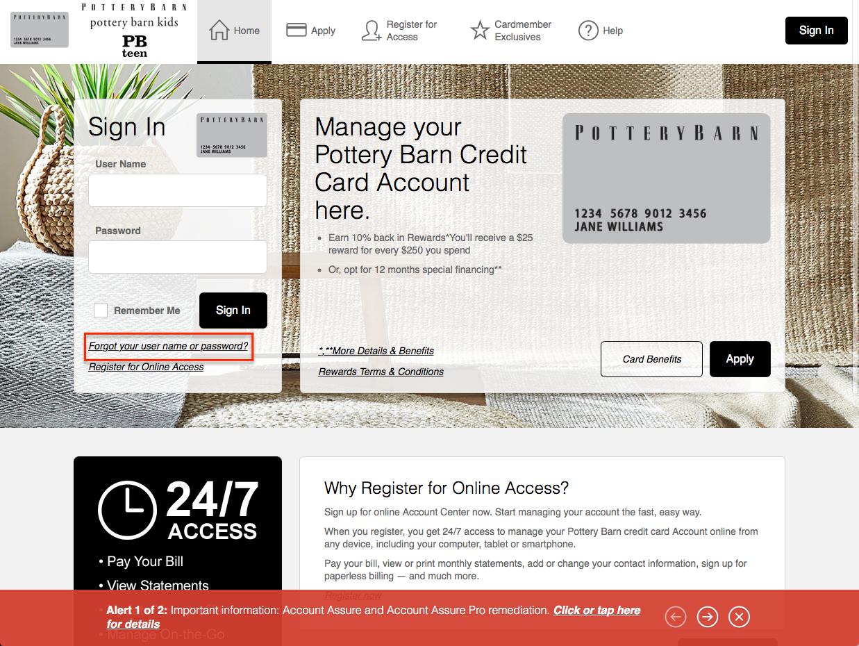 pottery barn credit card login make a payment creditspot. Black Bedroom Furniture Sets. Home Design Ideas