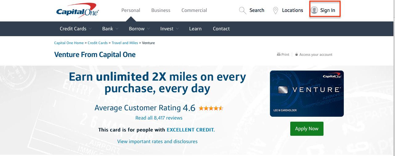 Capital One Venture Credit Card Login | Make a Payment
