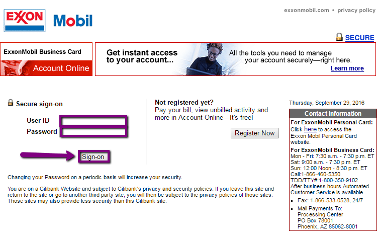 Exxon Mobil Business Credit Card Login Make A Payment Creditspot