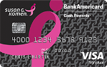 Picture of the Susan G. Komen BankAmericard Credit Card front