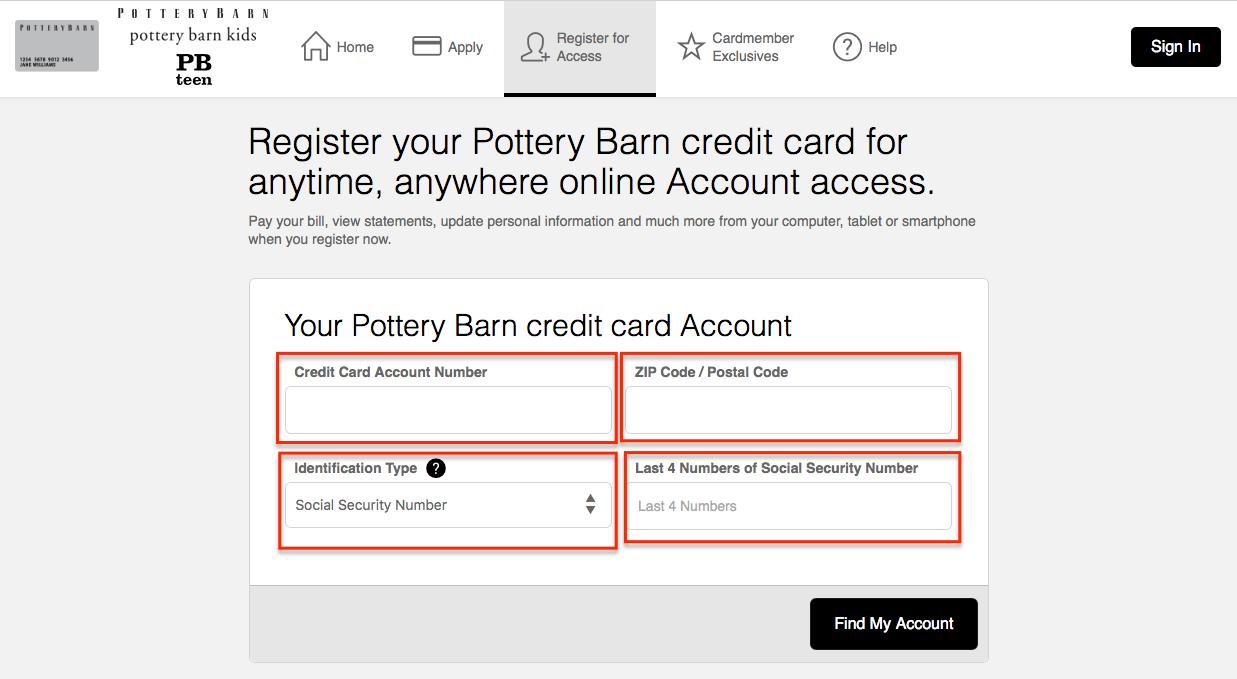 Pottery Barn Credit Card Login Make A Payment 💳 Creditspot